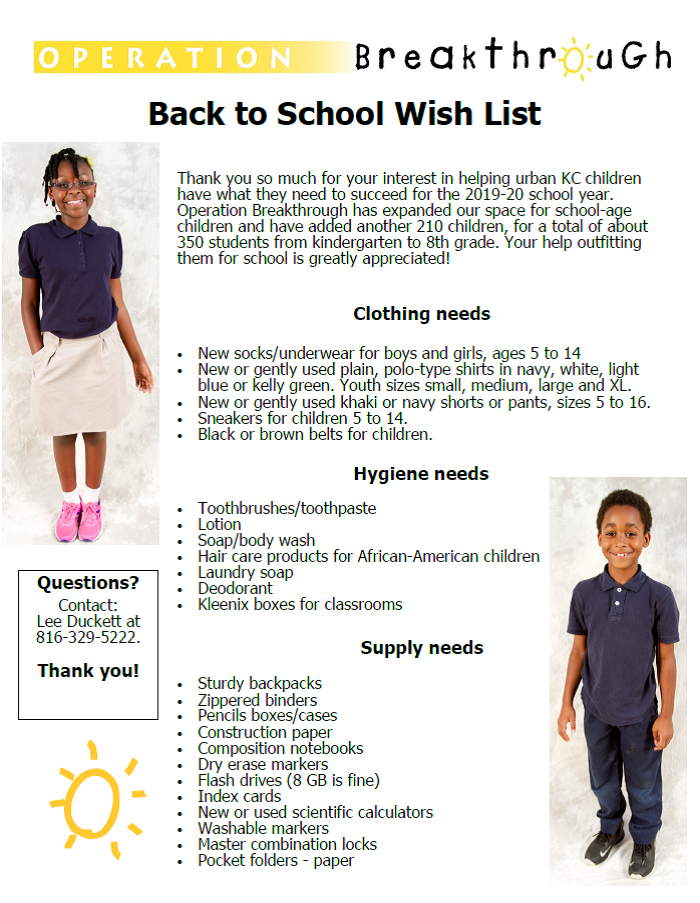 Operation Breakthrough Back-to-School Wish List